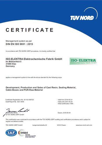 Certificate according to DIN EN ISO 9001 : 2015