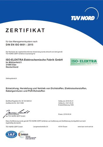 Zertifikat nach DIN EN ISO 9001 : 2015