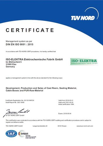 Certificate according to DIN EN ISO 9001 : 2015