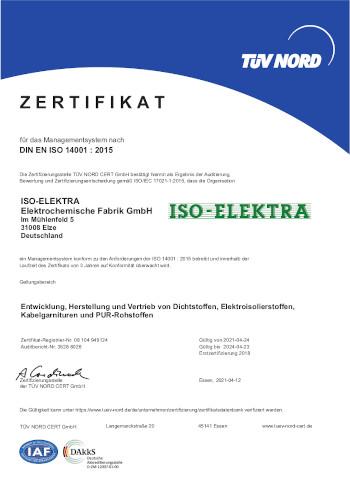Zertifikat nach DIN EN ISO 14001 : 2015